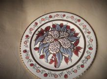 "ELEGANT HANDPAINTED HIGHLY GILDED PINK LILAC LUSTRE FLOWER CYPRUS 7.5"" PLATE"